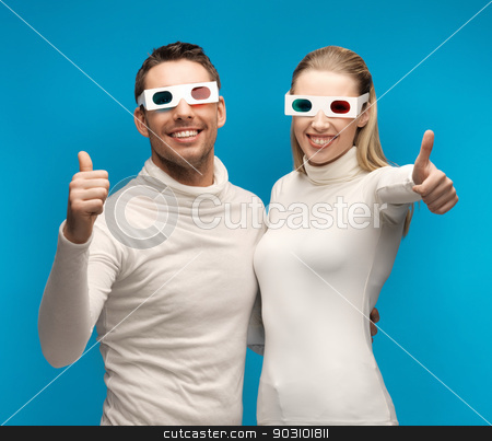 man and woman with 3d glasses stock photo, man and woman with 3d glasses showing thumbs up by Syda Productions