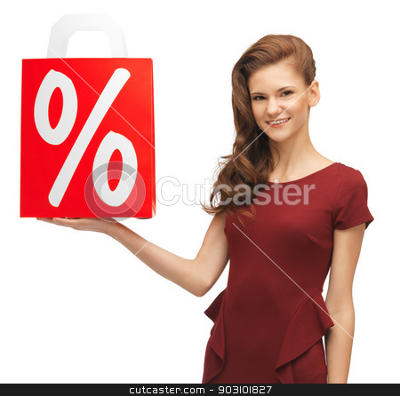 girl with shopping bag stock photo, picture of lovely teenage girl with shopping bag by Syda Productions