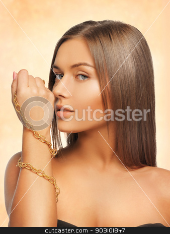 beautiful woman with necklace stock photo, bright picture of beautiful woman with necklace by Syda Productions