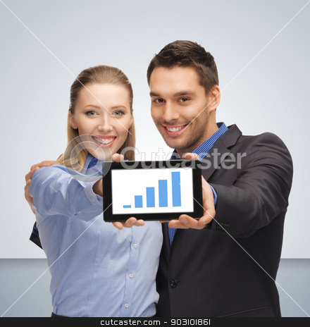 man and woman with tablet pc stock photo, bright picture of man and woman with tablet pc by Syda Productions