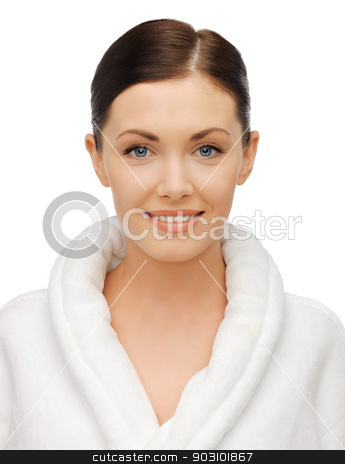 beautiful woman in bathrobe stock photo, bright closeup portrait picture of beautiful woman in bathrobe by Syda Productions
