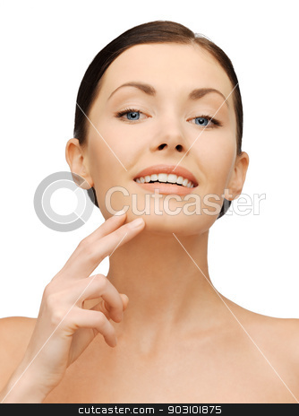 face and hands of beautiful woman stock photo, bright closeup portrait picture of beautiful woman by Syda Productions