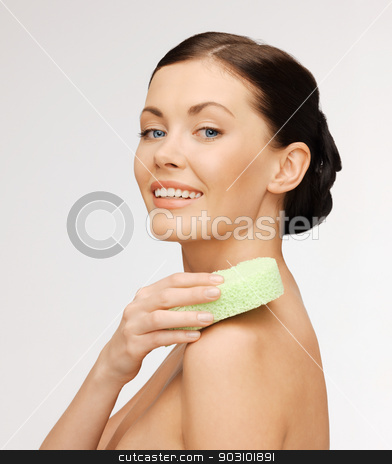 woman with sponge stock photo, bright picture of beautiful woman with sponge by Syda Productions