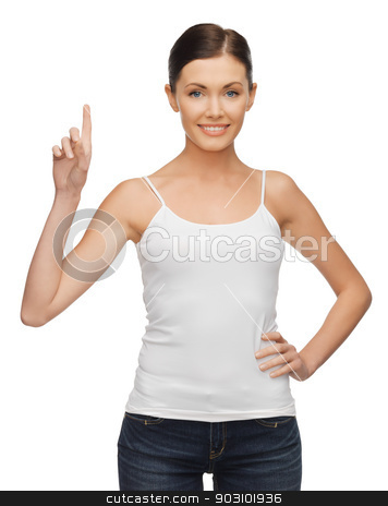 woman with finger up stock photo, happy woman in blank white t-shirt with finger up by Syda Productions