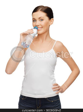 woman with bottle of water stock photo, picture of woman in blank t-shirt with bottle of water by Syda Productions