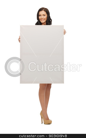 lovely woman in blue dress with blank board stock photo, picture of lovely woman in blue dress with blank board by Syda Productions
