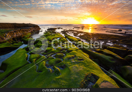 La Jolla Sunset stock photo, A beautiful sunset on the coast of La Jolla, San Diego, California. by Naturegraphica Stock