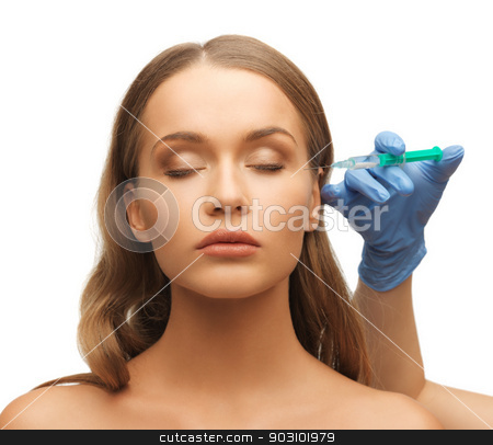 woman face and beautician hands stock photo, picture of woman face and beautician hands with syringe by Syda Productions