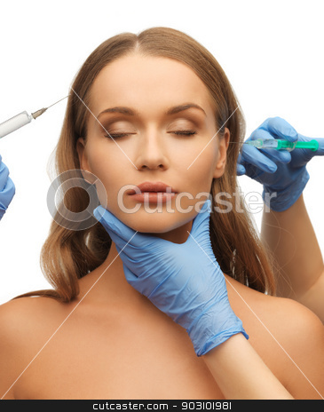 woman face and beautician hands stock photo, picture of woman face and beautician hands with syringes by Syda Productions
