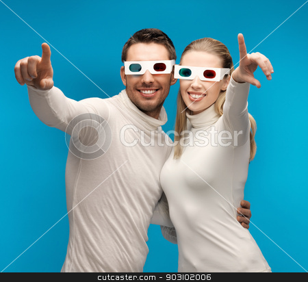 man and woman with 3d glasses stock photo, man and woman with 3d glasses pointing their fingers by Syda Productions