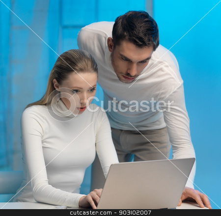 man and woman in laboratory stock photo, picture of man and woman in space laboratory by Syda Productions