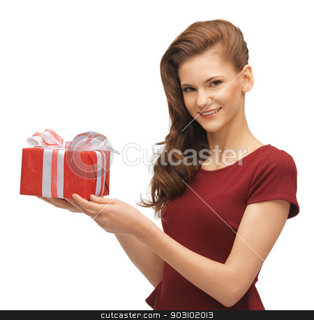 teenage girl in red dress with gift box stock photo, picture of teenage girl in red dress with gift box by Syda Productions