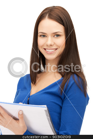 woman with notepad stock photo, bright picture of attractive woman with notepad by Syda Productions