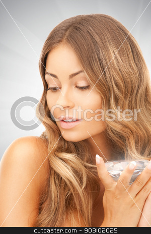 lovely woman with big diamond stock photo, picture of lovely woman with big diamond by Syda Productions