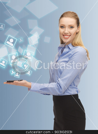 woman with smartphone stock photo, bright picture of woman with smartphone by Syda Productions
