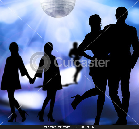 nightlife stock photo, silhouettes of men and women dancing at a disco by Syda Productions