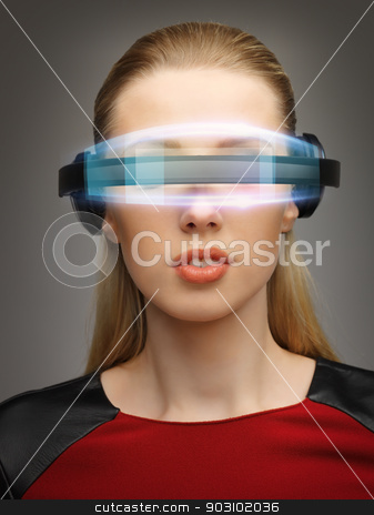 businesswoman with digital glasses stock photo, bright picture of businesswoman with digital glasses by Syda Productions
