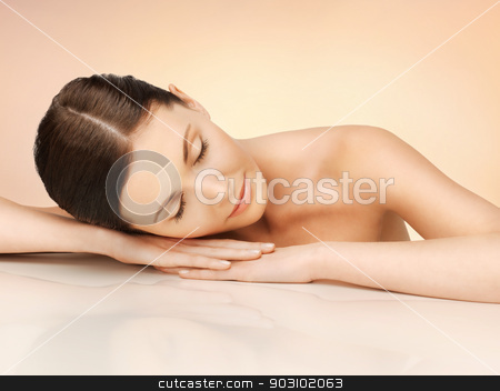 beautiful woman with closed eyes stock photo, bright picture of beautiful woman with closed eyes by Syda Productions