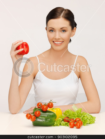 woman with vegetables stock photo, bright picture of beautiful woman with vegetables by Syda Productions