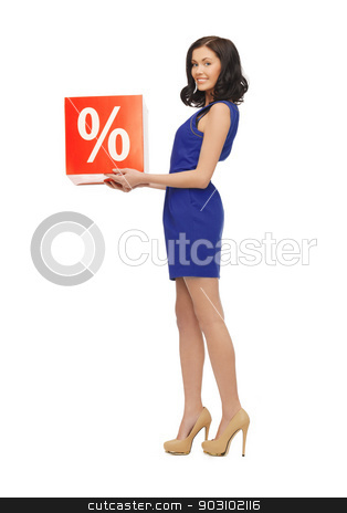 lovely woman in blue dress with percent sign stock photo, picture of lovely woman in blue dress with percent sign by Syda Productions