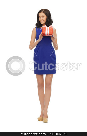 lovely woman in blue dress with present stock photo, picture of lovely woman in blue dress with present by Syda Productions