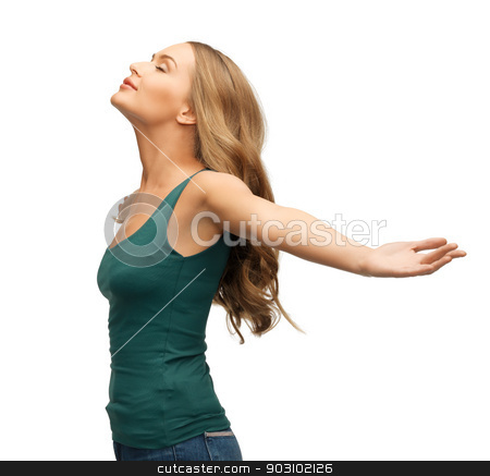 woman spreading hands stock photo, picture of happy and smiling woman spreading hands. by Syda Productions