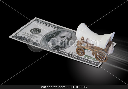Cowboy Hundred. stock photo, Chuck wagon ridding on hundred dollar bill. by WScott