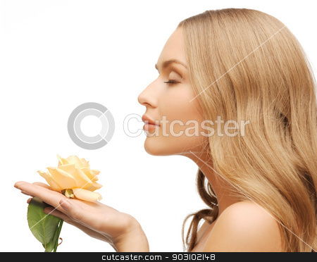 lovely woman with rose flower stock photo, bright picture of lovely woman with rose flower. by Syda Productions