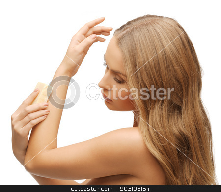 woman with soap stock photo, bright picture of beautiful woman with soap by Syda Productions