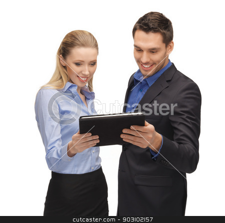 man and woman with tablet pc stock photo, bright picture of man and woman with tablet pc. by Syda Productions