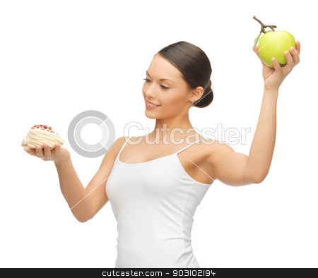 woman with cake and apple stock photo, picture of beautiful woman with cake and apple by Syda Productions
