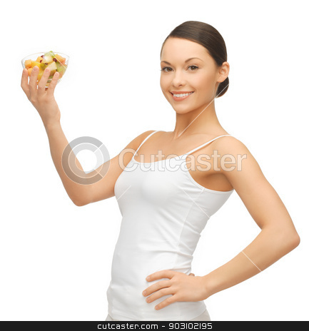 woman with fruit coctail stock photo, picture of beautiful woman with fruit coctail by Syda Productions