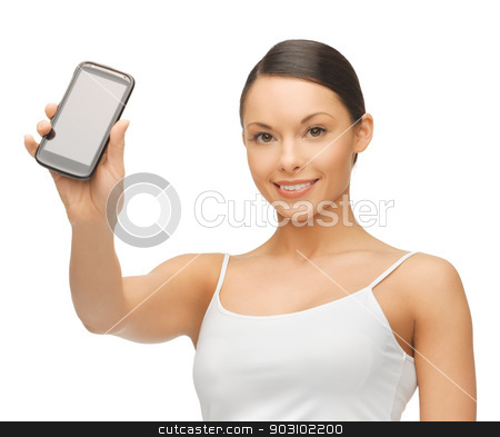 woman with smartphone stock photo, bright picture of beautiful woman with smartphone by Syda Productions