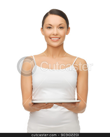 woman with tablet pc stock photo, picture of beautiful woman with tablet pc by Syda Productions