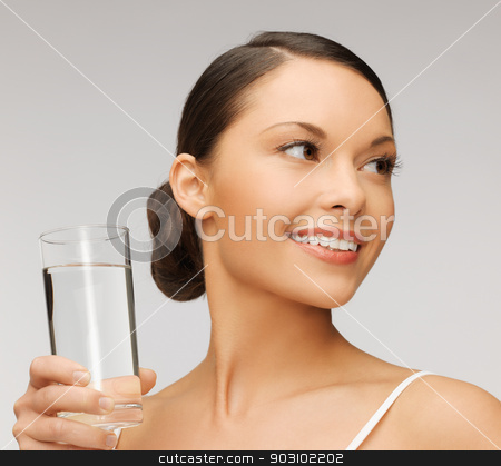 woman with glass of water stock photo, picture of beautiful woman with glass of water by Syda Productions