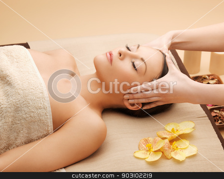 beautiful woman in massage salon stock photo, picture of happy beautiful woman in massage salon by Syda Productions