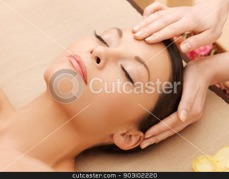 beautiful woman in massage salon stock photo, picture of happy beautiful woman in massage salon by Syda Productions