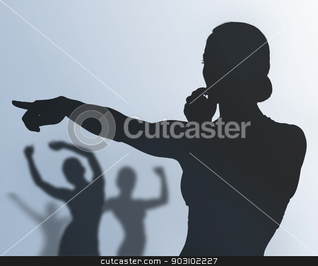 fitness instructor and training people stock photo, silhouette of fitness instructor and training people by Syda Productions
