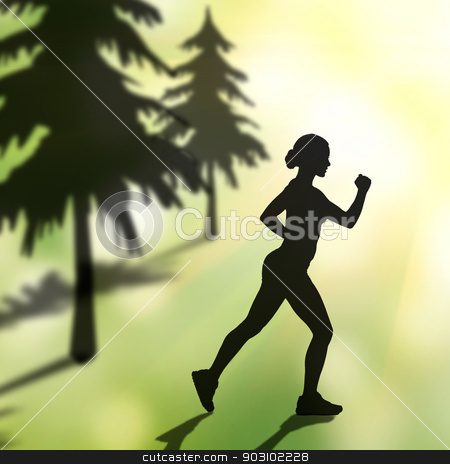 silhouette of jogging woman stock photo, silhouette of jogging woman in forest by Syda Productions