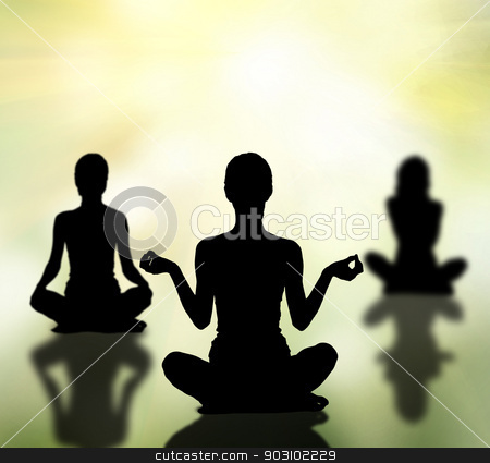 silhouettes of women practicing yoga lotus pose stock photo, silhouettes of three women practicing yoga lotus pose by Syda Productions