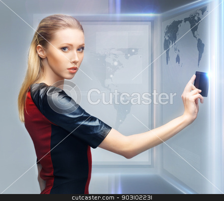 woman with access card stock photo, picture of futuristic woman with access card by Syda Productions