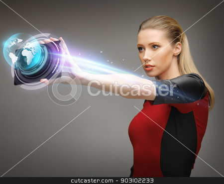 woman working with tablet pc stock photo, bright picture of woman working with tablet pc by Syda Productions