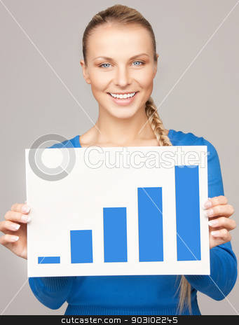 woman with growth graph on board stock photo, bright picture of confident woman with growth graph on board by Syda Productions