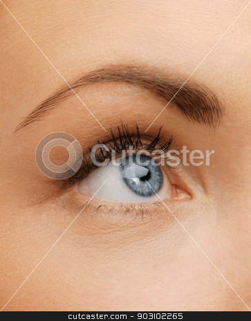woman's eye stock photo, bright closeup picture of woman's eye by Syda Productions