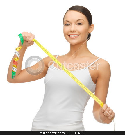 woman measuring her hips stock photo, picture of sporty woman measuring her hips by Syda Productions