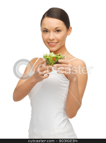 woman with salad stock photo, bright picture of beautiful woman with salad by Syda Productions