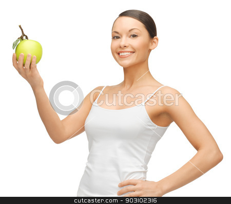 woman with green apple stock photo, picture of beautiful woman with green apple by Syda Productions
