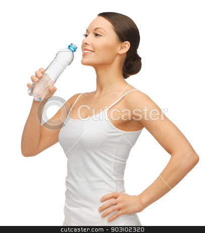 woman with bottle of water stock photo, picture of beautiful woman with bottle of water by Syda Productions
