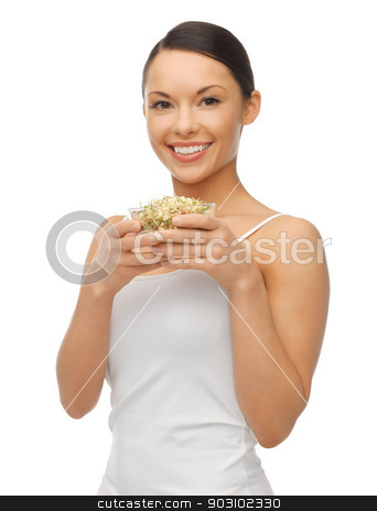 woman with mung sprout beans stock photo, picture of beautiful woman with mung sprout beans by Syda Productions
