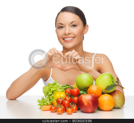 woman with fruits and vegetables stock photo, picture of beautiful woman with fruits and vegetables by Syda Productions